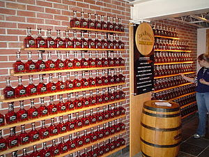 A wall showing how much a single barrel will f...