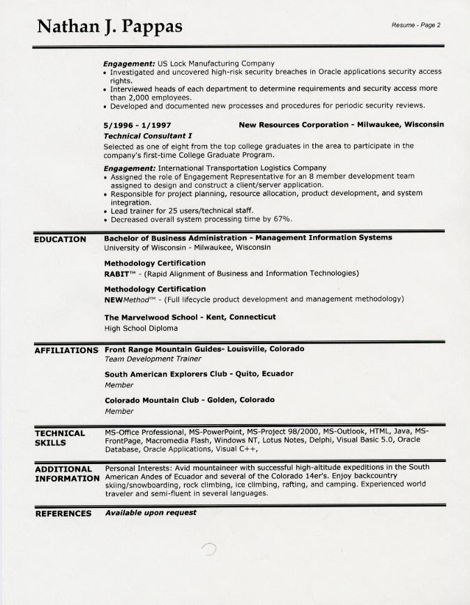 sample resume headings