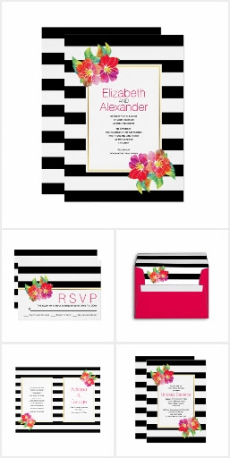 Watercolor flowers and black white stripes wedding