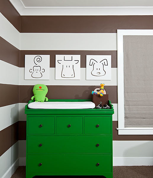 Striped Nursery/Kelly Green Dresser