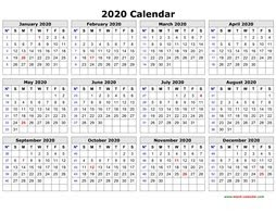 Free Printable Template Excel 2020 Yearly Calendar