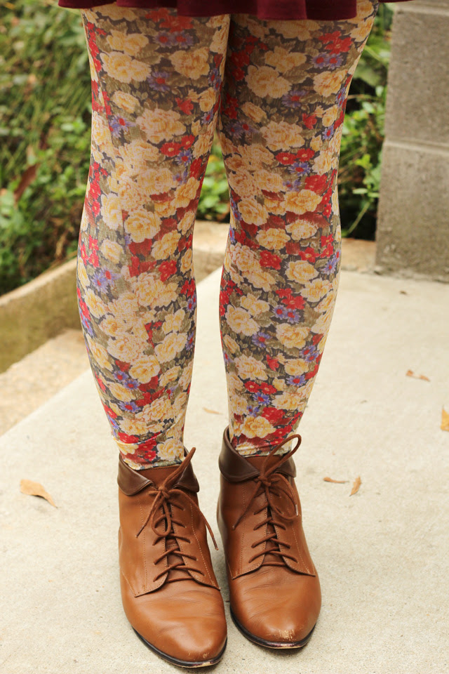Floral Modcloth Tights and Lace Up Ankle Boots
