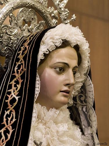Primer plano de la Virgen de los Dolores de la Cofradía del Prendimiento