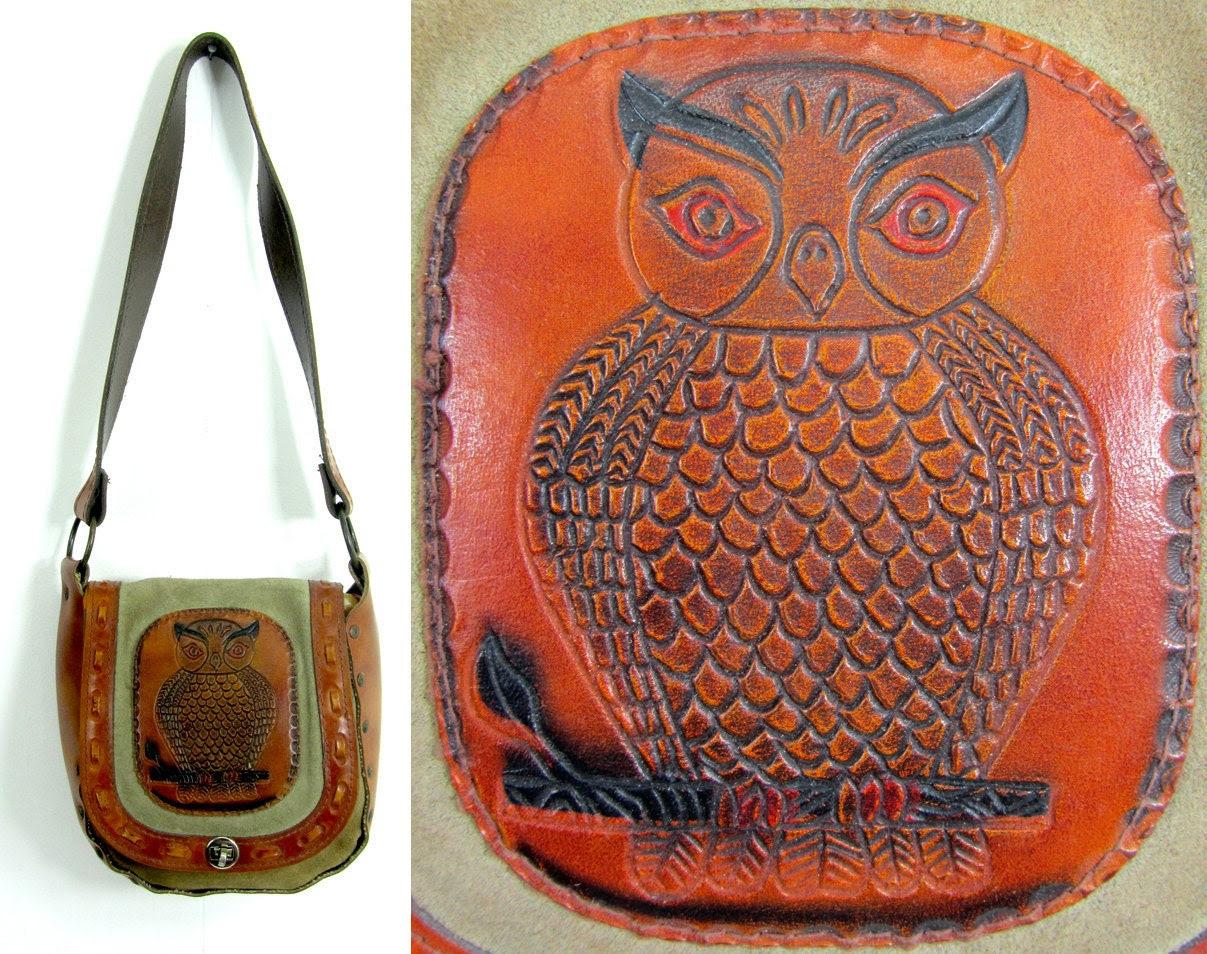 TatiTati vintage RARE  Beautiful Hand Tooled LEATHER & SUEDE Owl Shoulder Bag