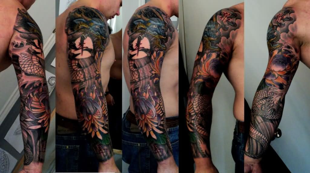 Man Right Sleeve Native American Tattoo