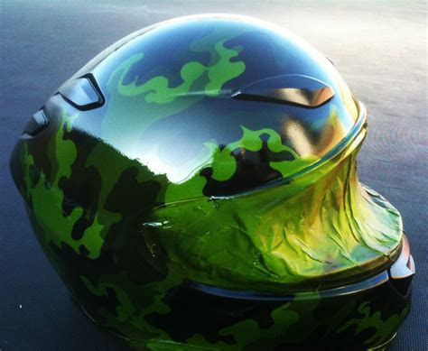 Custom Painted Motorcycle Helmet   Wooded Green Camo