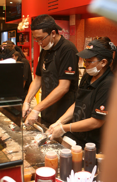 Cold Stone Creamery staff doing the mix-in