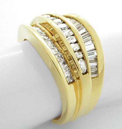 Foto 2, Diamant-Ring Trapez Baguette Navette massiv! 18K Luxus!, S7597