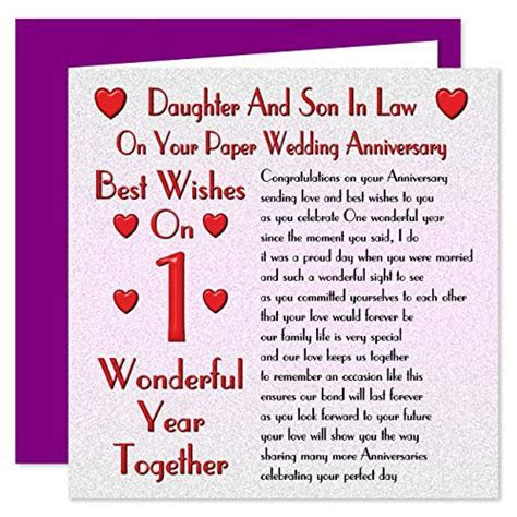Son & Daughter In Law 1st Wedding Anniversary Card   On