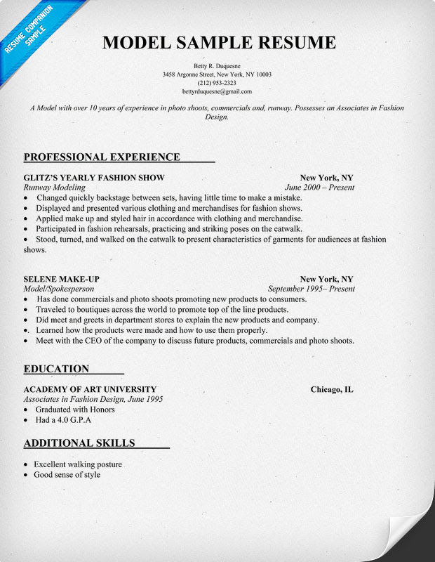 model resume sample