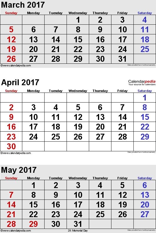 Calendar March 2017 And April 2017