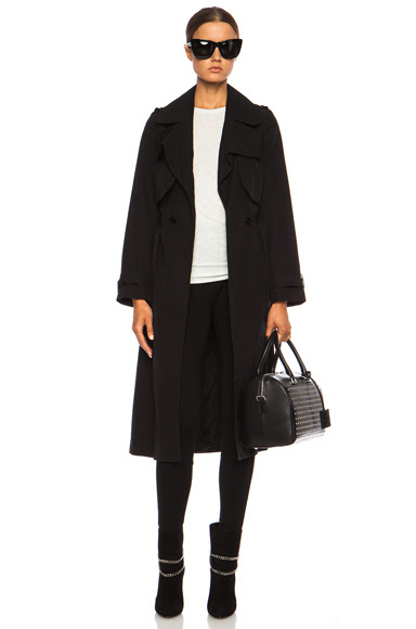 Carven|Long Trench Viscose-Blend Coat in Black [1]