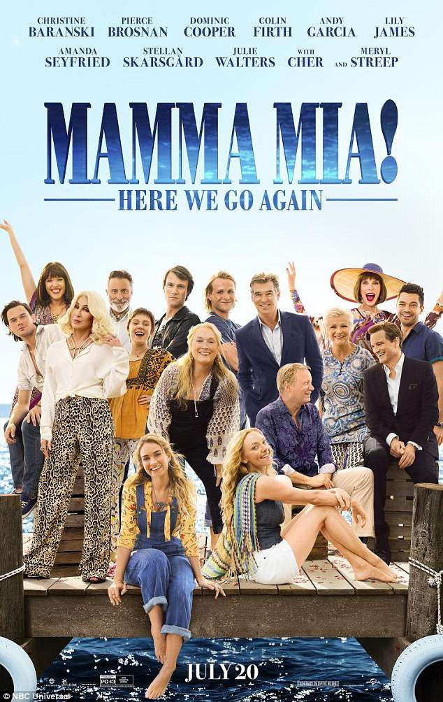 Highly-anticipated: Cher, Meryl Streep, and Amanda Seyfried were just a few of he castmates featured on a new Mamma Mia! Here We Go Again poster released on Monday