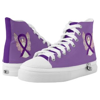 Purple Awareness Ribbon Angel Custom Design Shoes Printed Shoes
