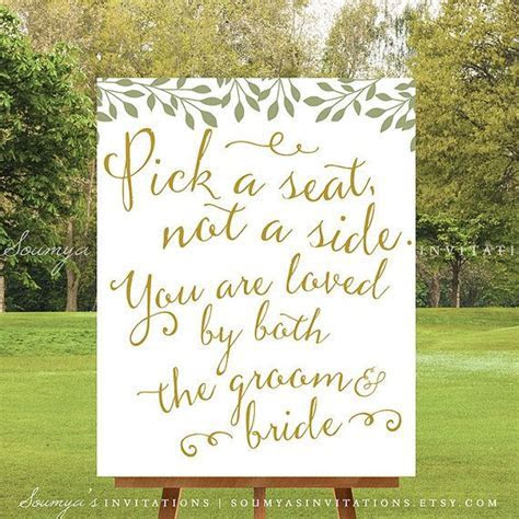 PRINTABLE Pick a Seat Not a Side Wedding Sign, Gold and