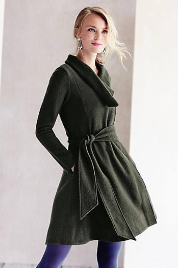 Shawled Wool Sweater Coat