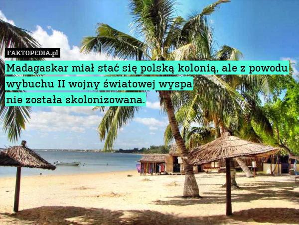 Madagaskar miał stać się polską – Madagaskar miał stać się polską kolonią, ale z powodu wybuchu II wojny światowej wyspa nie została skolonizowana.