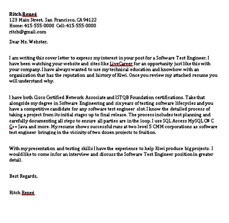 Cover Letter For Software Tester Sample Cover Letter