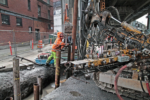 SR 99 tunnel prep - driving supports underground