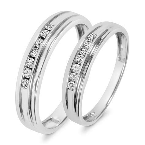 1/3 CT. T.W. Diamond His And Hers Wedding Band Set 10K