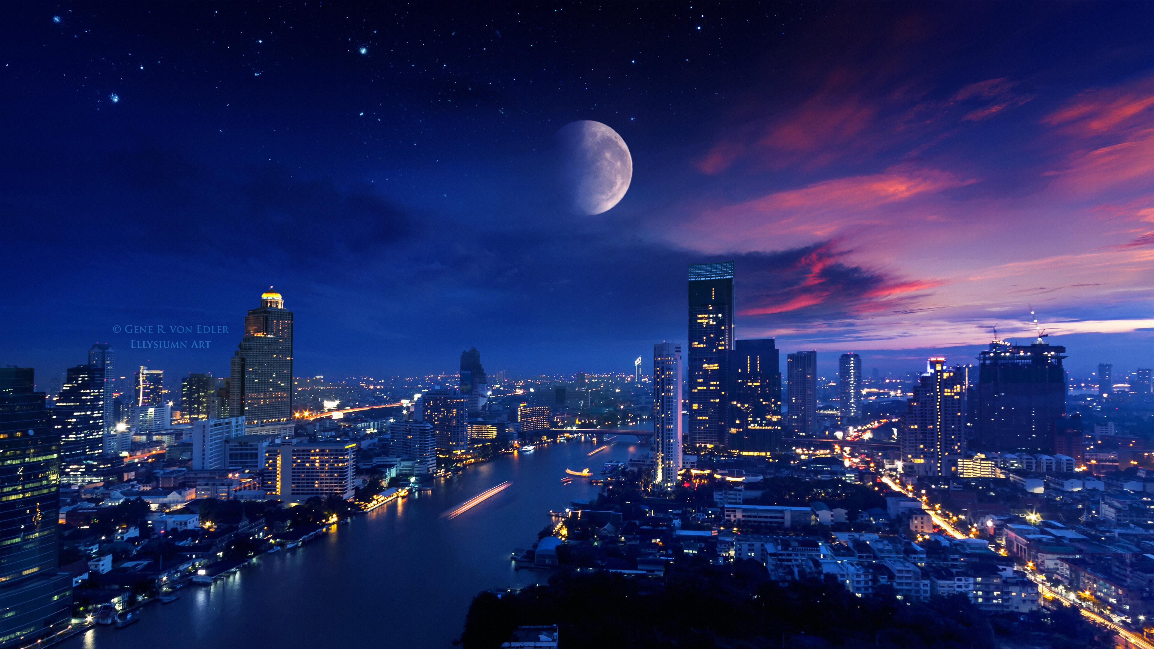 City Lights Moon Vibrant 4k, HD Photography, 4k Wallpapers ...