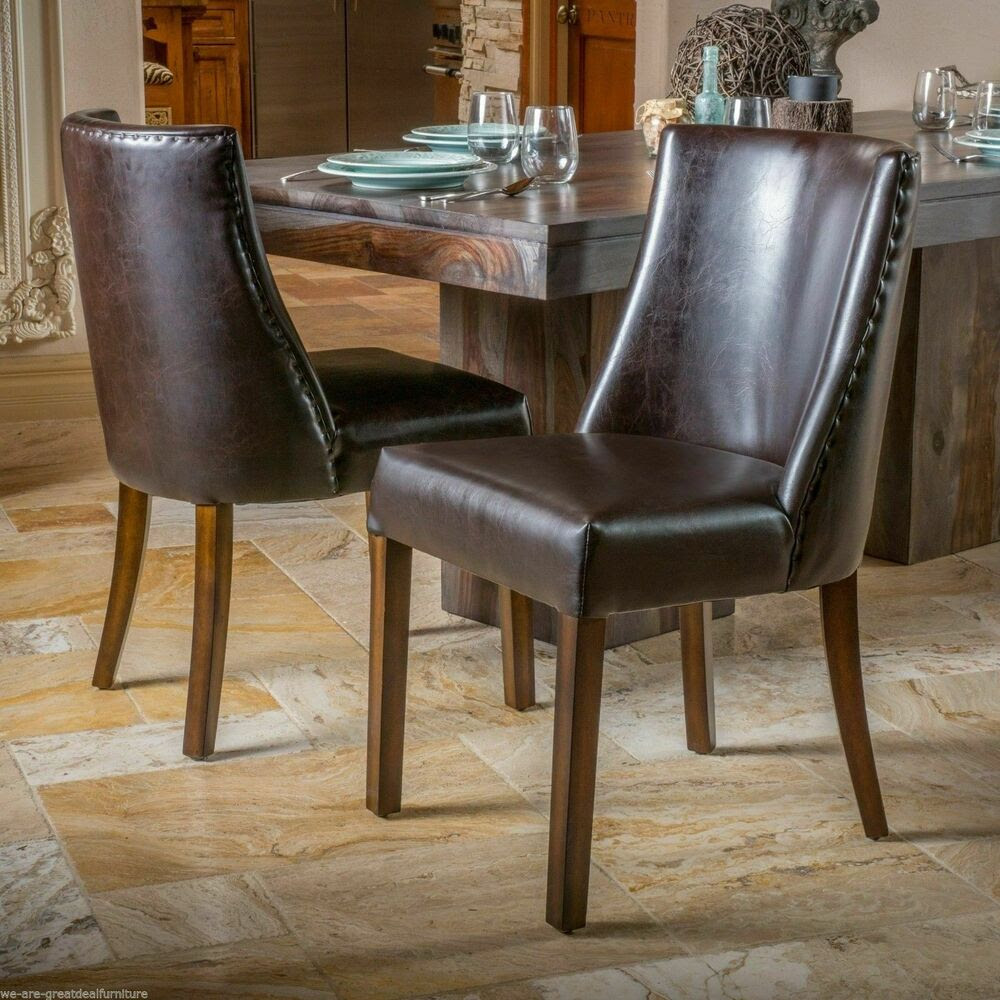 (Set of 2) Dining Room Furniture Brown Leather Dining ...