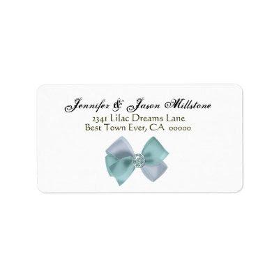 Romantic Aqua Blue Silver Bow Wedding Label by JaclinArt
