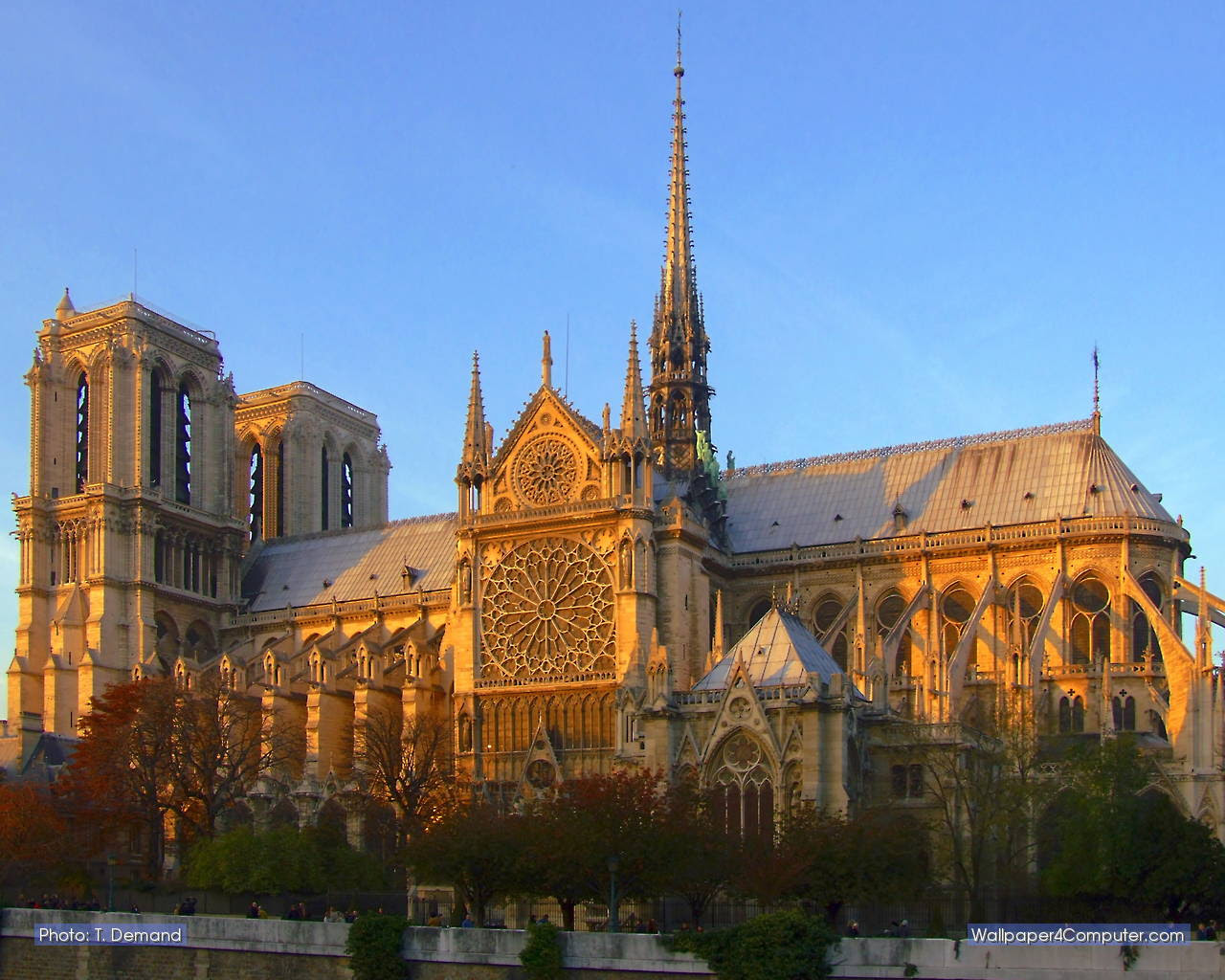 Wallpaper For Computer The Cathedral Notre Dame At Sunset 1280