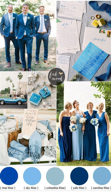 Mismatched blue bridesmaid dresses for a blue wedding theme