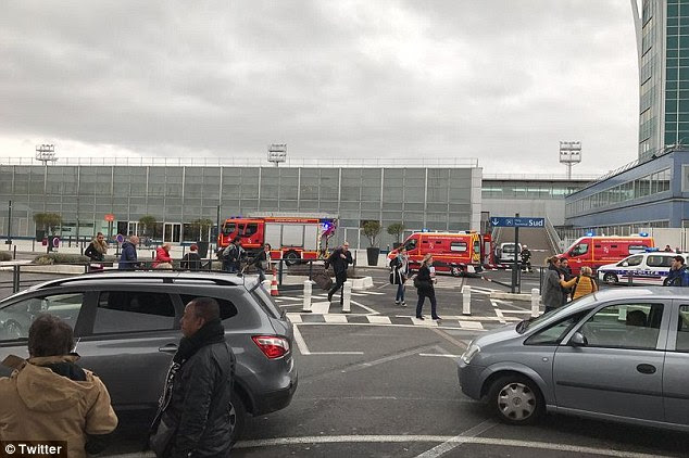 A man has been shot dead after reportedly trying to steal a soldier's weapon at Paris Orly airport