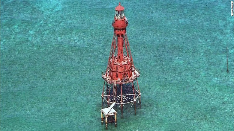 A group of Cuban migrants made it onto a platform 40 feet above the water at the American Shoal Lighthouse.