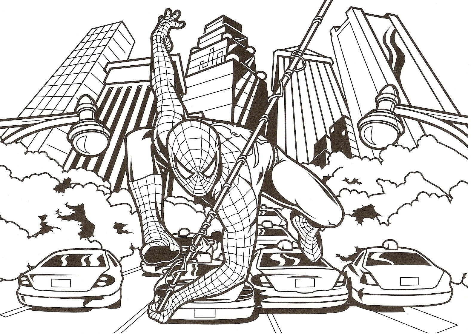 coloriage spiderman au bout de la toile