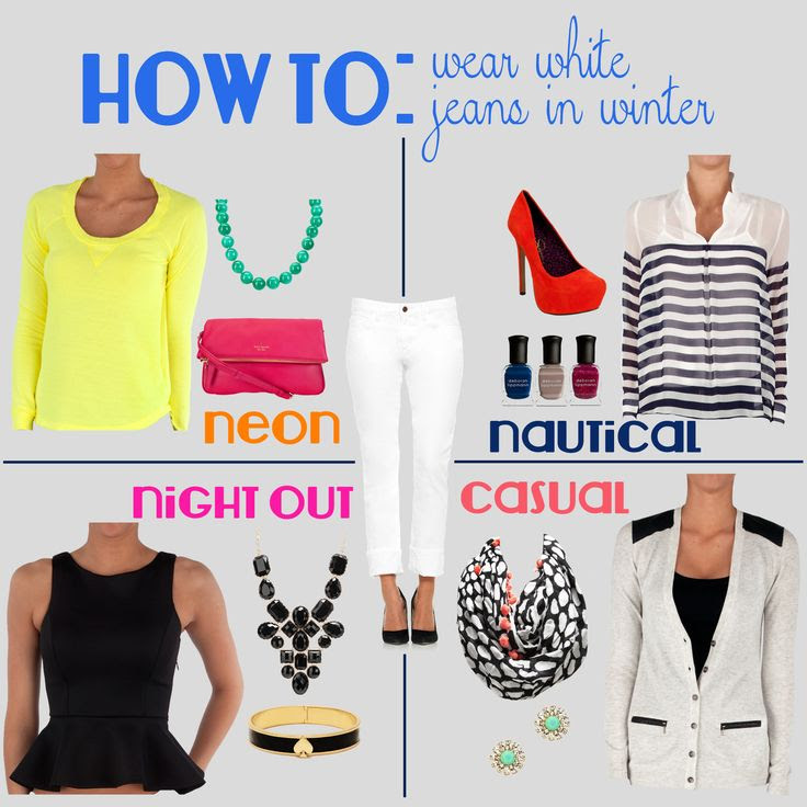 How to wear white jeans in the winter. Love it! Just bought my white jeans!!