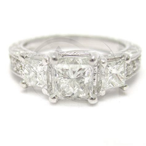 Princess Cut Three Stone Antique Style Diamond Engagement