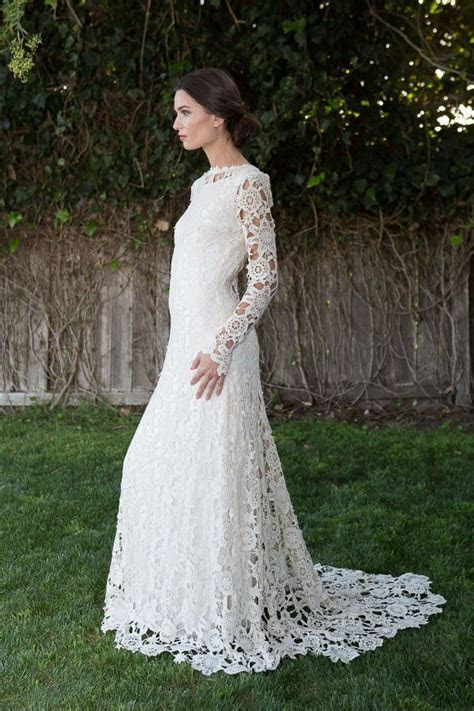 Vintage Bohemian Ivory Crochet Lace Wedding Dress UK 8 10