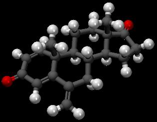 Imagen del modelo de barras y esferas de la molécula de exemestano