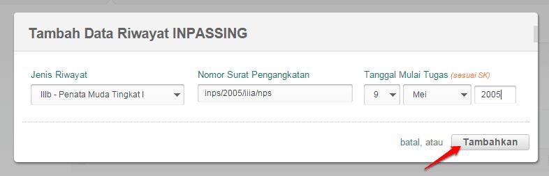 isi data inpassing