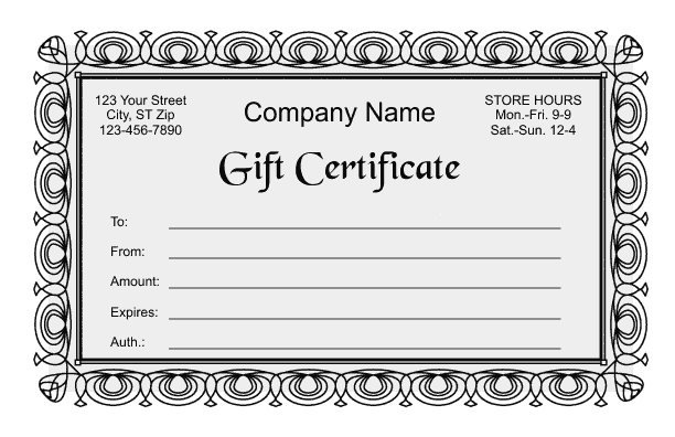 Gift Certificate Template 2