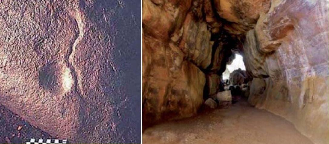 """Los ejemplos más antiguos de """"arte"""" en Bhimbetka, la India (290.000-700.000 a. C.): diseño de cúpula y meandro (izquierda) y vista general del refugio de roca en el que se encuentra (derecha)(Collado Giraldo)"""