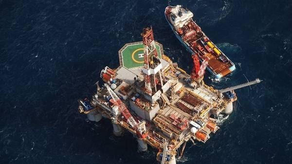 Una plataforma petrolera operada por Desire Petroleum, a 150 km. de Malvinas. Foto: Reuters.