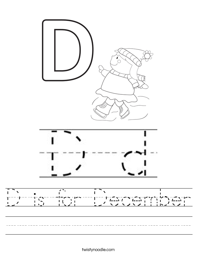 D is for December Worksheet - Twisty Noodle