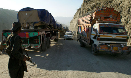 Nato trucks at the Pakistani border town of Torkham bound for Afghanistan