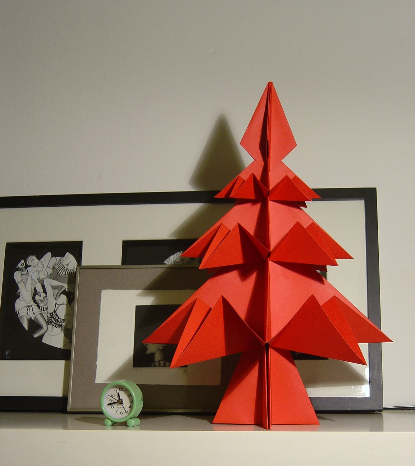 Big RED Origami Christmas Tree . Ornament for home or Christmas Table.