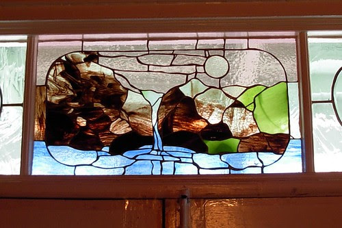 stained glass of the Delaware water gap at the deer head inn