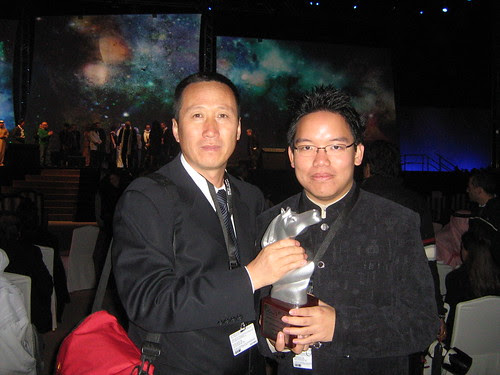 """With Yu Guangyi (""""Survival Song""""), Special Jury Prize winner for AsiaAfrica Documentary, Dubai Film Fest 2008 Closing Ceremony"""