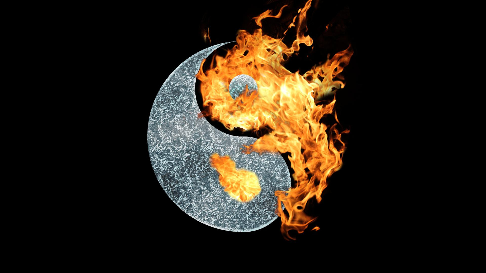 Fire And Ice Yin Yang Wallpaper Wallpaper Wallpaperlepi