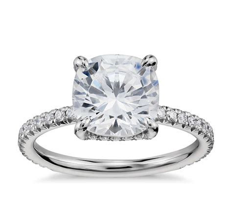 Blue Nile Studio Cushion Cut Petite French Pavé Crown