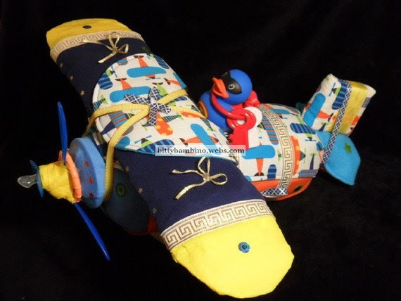 Airplane Diaper Cake - Diaper Airplane -Deluxe Model with Handmade Baby Gift Set
