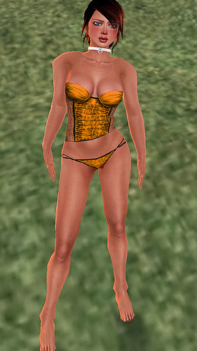 35L Thursday  Lace Garbo corset and panty gold
