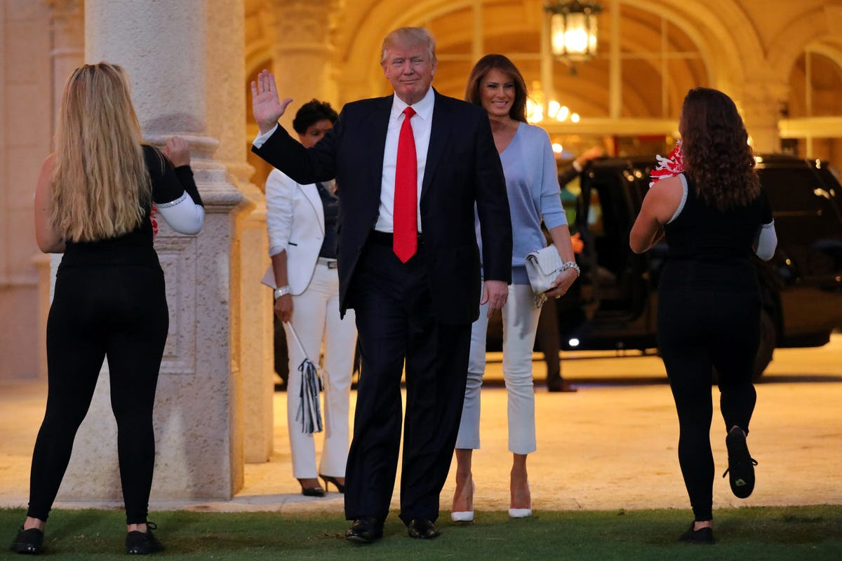 After a day full of criticizing a federal judge on Twitter for blocking his temporary immigration ban of seven majority-Muslim countries, Trump arrived at his golf club.